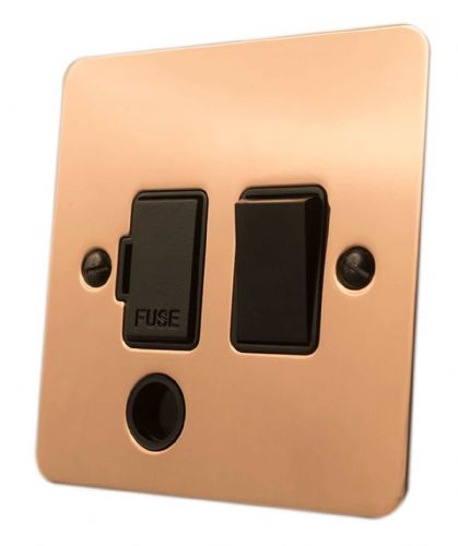 G&H FBC56B Flat Plate Bright Copper 1 Gang Fused Spur 13A Switched & Flex Outlet